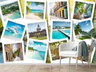 Cruise memories on polaroid photos - summer caribbean vacations