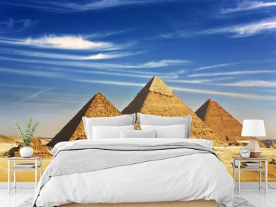 Egypt. Cairo - Giza. General view of pyramids from the Giza Plateau (on front side 3 pyramids popularly known as Queens' Pyramids  next: the Pyramid of Mykerinos, Chephren and Cheops)