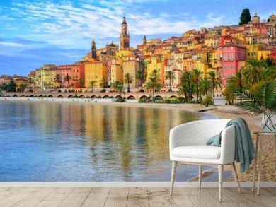 Colorful medieval town Menton on Riviera, Mediterranean sea, Fra