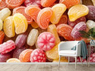 bonbons à l'ancienne sur table en vieux bois