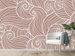Seamless abstract hand-drawn waves pattern, wavy background.