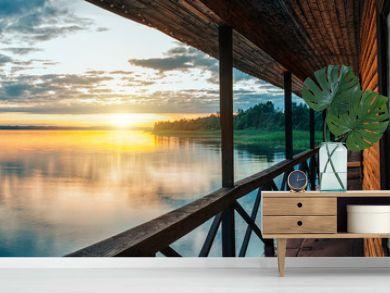sunset on a peaceful lake