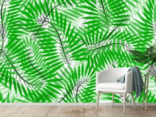 Seamless of Chamaedorea leaves. pattern of tropical leaves for your design