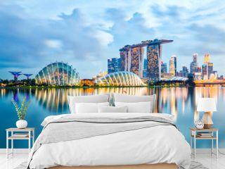 Singapore Skyline And View Of Marina Bay At Night