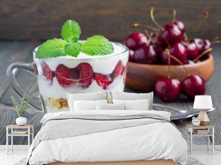 Cherry, muesli and yogurt dessert in glass, cherry verrine