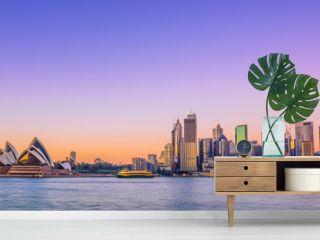 Sydney city skyline at sunrise with vivid coloured sky.