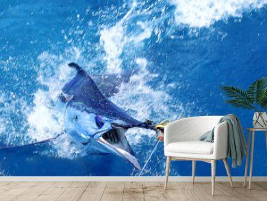 Blue marlin on the hook