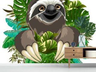 Sloth Cute Cartoon on Tropical Nature