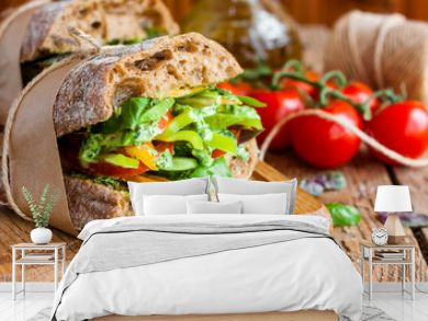 veggie sandwich with vegetables and pesto