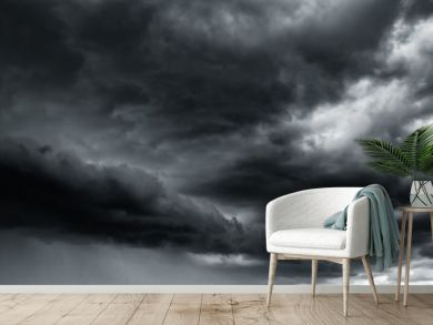 Dramatic thunder storm clouds at dark sky