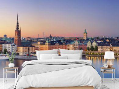 Stockholm.Panoramic image of Stockholm, Sweden during sunset.