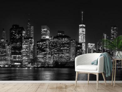 New York City Manhattan downtown skyline at dusk with skyscraper