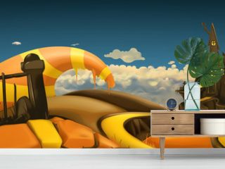 Halloween background. Cartoon landscape panorama. 3d vector graphics