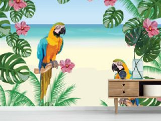 Exotic tropical card with parrot birds and  flowers. Vector Summer beach background illustration