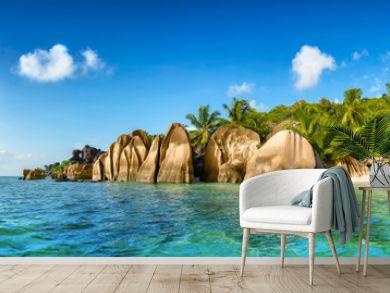 anse source d'argent beach on la digue island in seychelles
