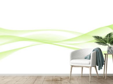 abstract green waves in white background