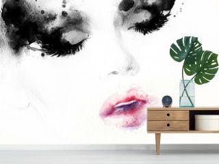 Abstract fashion watercolor illustration. Beautiful woman face.