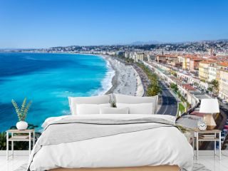 Panoramic view on Nice city with mountains and azure sea