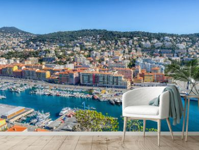Panoramic view of Nice port and buildings in mountains