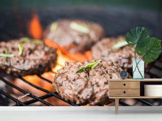 bbq burgers, smoke and fire