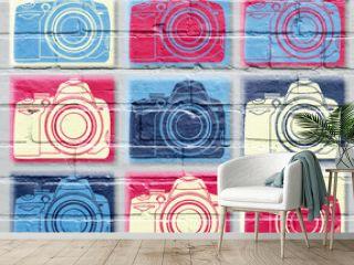 Art urbain, appareil photo reflex d'inspiration pop art