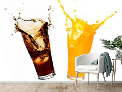 Orange juice and cola splashing out of glass., Isolated white background.