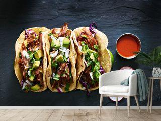 three mexican pork carnitas tacos flat lay composition