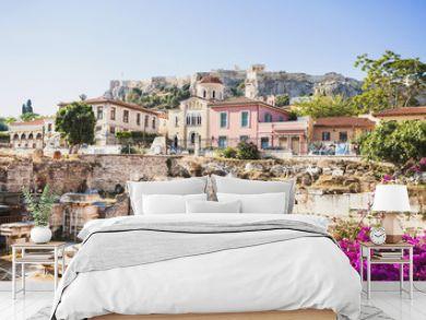 Ancient Greece, detail of ancient street, Plaka district, Athens, Greece. Travel, tourist destination, vacations concept