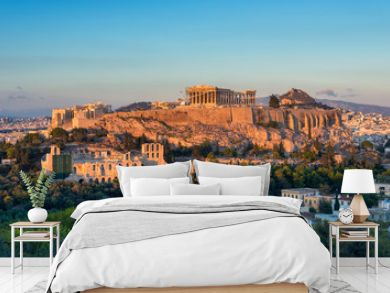 The Acropolis at Athens Greece at sunset