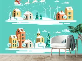 Santa Claus with deers in sky above the town. Christmas city. Vector illustration.