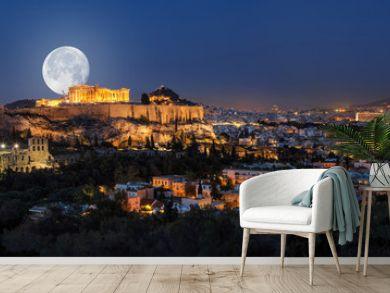 Vollmond über der Akropolis und Athen