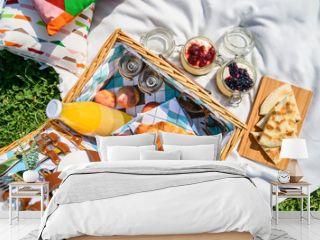Picnic Basket With Fruits, Orange Juice, Croissants, Quesadilla And No Bake Blueberry And Strawberry Jam Cheesecake