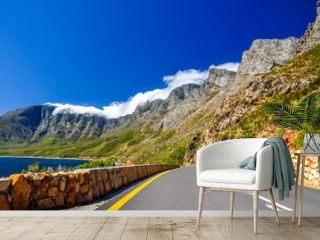 Beautiful mountain scenery along Route 44 in the Western Cape province of South Africa. Located in the eastern part of False Bay near Cape Town between Gordon's Bay and Pringle Bay.