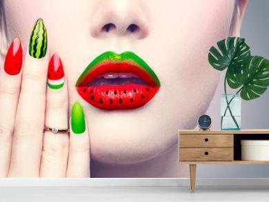 Beauty fashion watermelon makeup and manicure