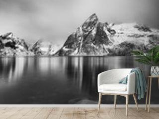 Reflections of Olstinden peak, Lofoten Islands, Norway