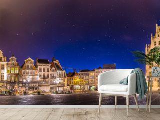 Historical city -  Grand place in  Mechelen near Brussels - Belgium- during dusk