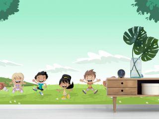 Green grass landscape with cute cartoon kids.