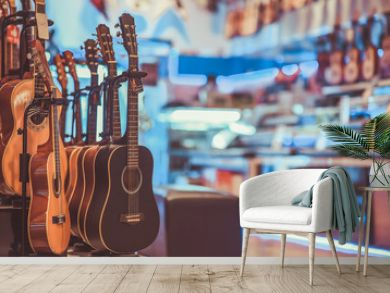 Multi-Colored Classical Guitar in a vintage style.