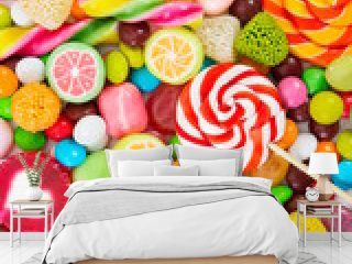 Colorful lollipops and candy. Top view.