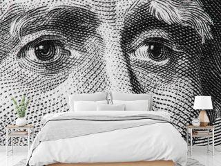 US president Andrew Jackson face on USA twenty dollar bill extreme macro, 20 usd, United States money closeup