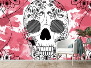 Line art hand drawing black skull isolated on white background with dark red watercolor blots. Doodle style. Tatoo. Zenart. Zentangle.Coloring for adults