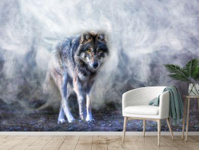 ein Wolf erscheint aus dichtem Nebel