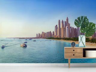 Beach and Skyline of Dubai Marina