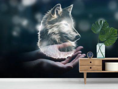 Person holding fractal endangered wolf illustration 3D rendering
