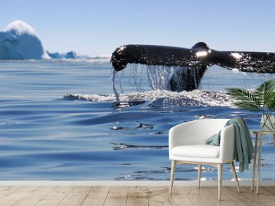 Beautiful view of icebergs and whale in Antarctica