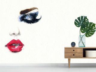 Beautiful woman face. Fashion watercolor illustration. Beauty background
