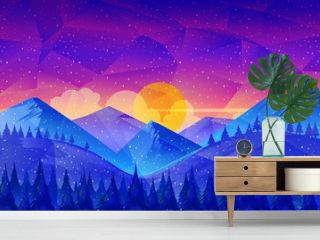 Low poly Nature Landscape,great as a wallpaper, design template, flyer, etc