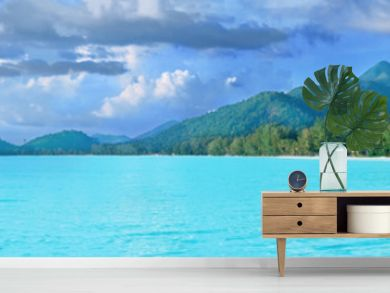Beautiful tropical Thailand island panoramic with beach, white sea and coconut palms for holiday vacation background concept