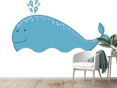 Print with a funny whale