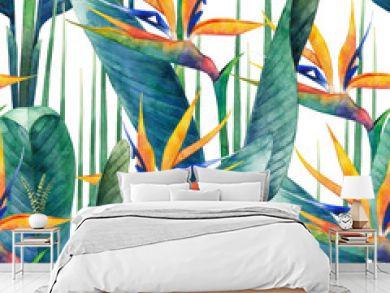Watercolor strelitzia pattern